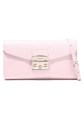 Furla Metropolis Textured-leather Shoulder Bag Woman Pastel pink Size --