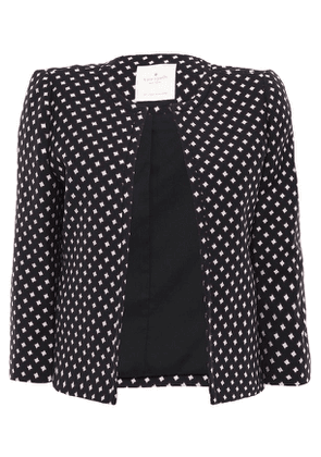 Kate Spade New York Printed Jacquard Jacket Woman Black Size 10