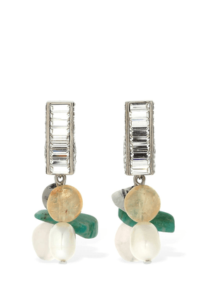 Swarovski & Stone Halo Square Earrings