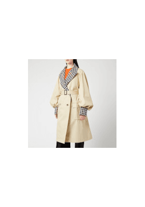 JW Anderson Women's Trench Coat With Check Contrast - Flax - UK 8