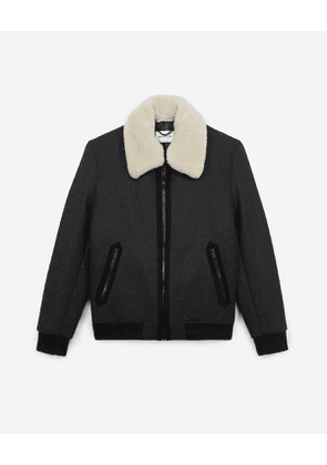 The Kooples - zipped grey wool jacket with leather collar - gry