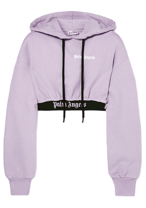 Palm Angels - Cropped Jaquard-trimmed Cotton-terry Hoodie - Lilac