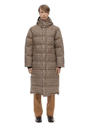 Hooded Logo Jacquard Down Coat