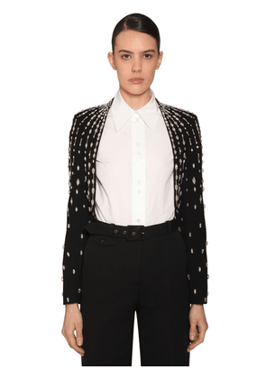 Embellished Wool Crepe Bolero Jacket