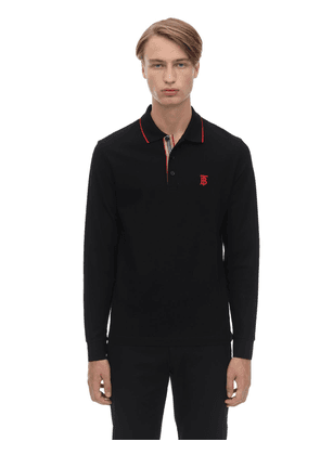Logo Embroidered  L/s Cotton Piqué Polo
