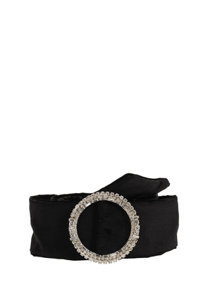 70mm Velvet Belt W/ Embellished Buckle