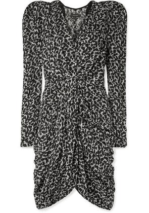 Isabel Marant - Issolya Ruched Printed Fil Coupé Chiffon Dress - Black