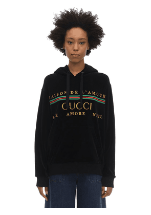 Embroidered Cotton Blend Chenille Hoodie
