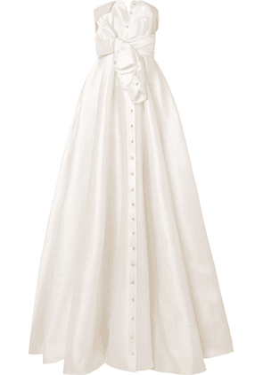 Alexis Mabille - Bow-detailed Embellished Satin-twill Gown - White