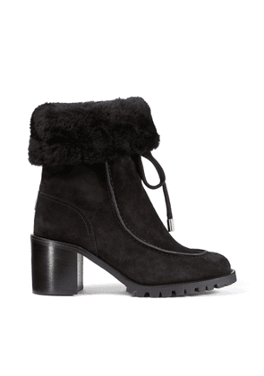 BUFFY 65 Black Crosta Suede Hiker Boots with Shearling Lining