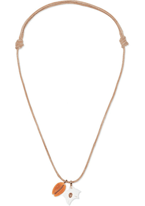Dezso by Sara Beltrán - Leather And 18-karat Rose Gold Multi-stone Necklace - one size