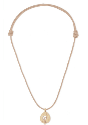 Dezso by Sara Beltrán - Leather, Diamond And Coconut Necklace - Rose gold