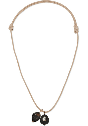Dezso by Sara Beltrán - Leather, 18-karat Rose Gold, Agate And Tourmaline Necklace - one size