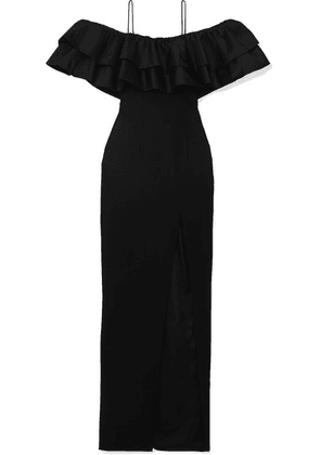 RASARIO - Ruffled Silk And Crepe Gown - Black