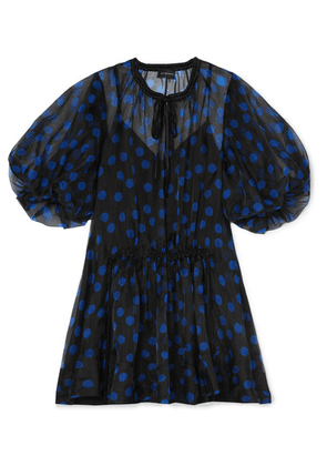 Lee Mathews - Rayne Satin-trimmed Polka-dot Silk-organza Dress - Navy
