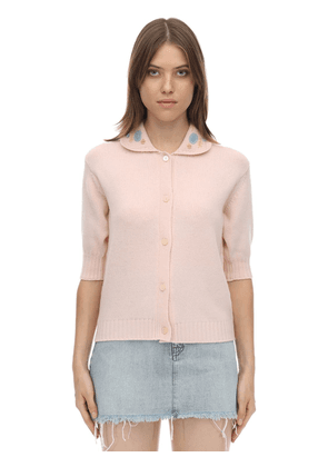 Embroidered Virgin Wool Knit Top