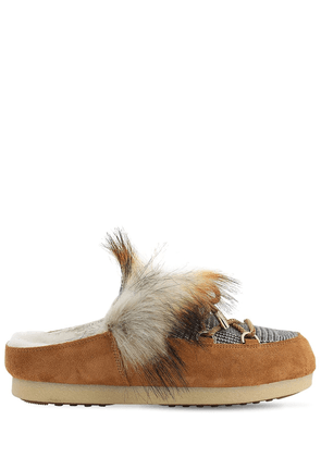 Far Side Sabot Loafers W/ Faux Fur