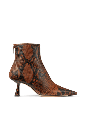 KIX 65 Cuoio Snake Printed Leather Pointed Toe Bootie