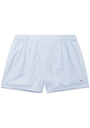 Isaia - Windowpane-checked Cotton Boxer Shorts - Light blue