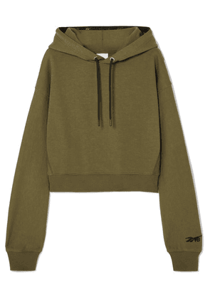 Reebok X Victoria Beckham - Cropped Embroidered Cotton-jersey Hoodie - Army green