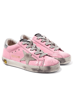 Golden Goose Kids - Size 19 - 27 Superstar Distressed Cracked Patent-leather And Suede Sneakers