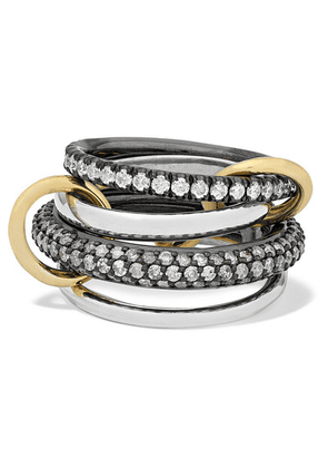 Spinelli Kilcollin - Vega Set Of Four Sterling And Rhodium-plated Silver And 18-karat Gold Diamond Rings - 6