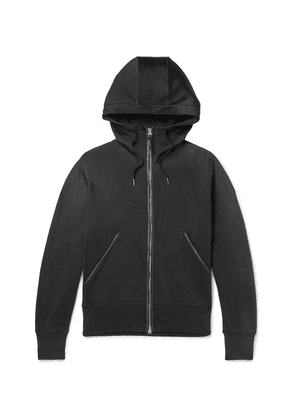 TOM FORD - Leather-trimmed Jersey Zip-up Hoodie - Black