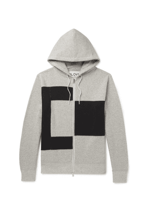 Aloye - Colour-block Mélange Loopback Cotton-jersey Zip-up Hoodie - Gray