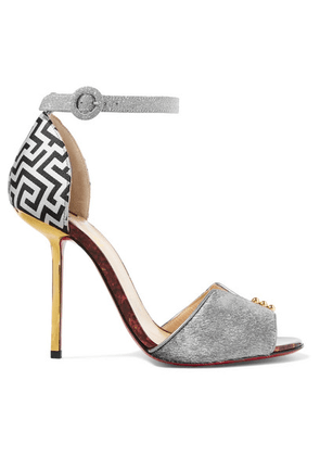 Christian Louboutin - Notte Bella 100 Glittered Leather, Jacquard And Calf Hair Sandals - Silver