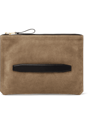 TOM FORD - Leather-trimmed Suede Pouch - Tan