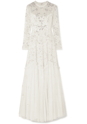 Needle & Thread - Ruffled Sequin-embellished Tulle Gown - Ivory