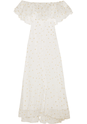 Temperley London - Off-the-shoulder Metallic Fil Coupé Organza Gown - White
