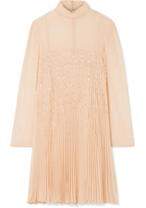Prada - Crystal-embellished Plissé-georgette Mini Dress - Peach