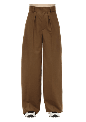 Wide Leg Wool Twill Pants