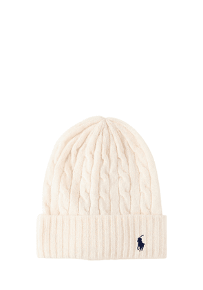 Logo Wool & Cashmere Cable Knit Beanie
