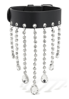 Leather Choker W/ Crystal Fringes