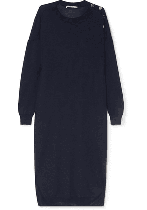 Stella McCartney - Button-embellished Wool And Silk-blend Midi Dress - Navy
