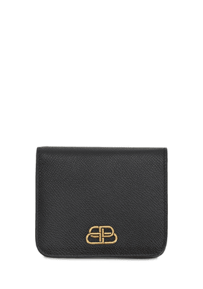 Bb Grained Leather Compact Wallet