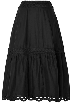 J.Crew - Broderie Anglaise-trimmed Organic Cotton-voile Midi Skirt - Black