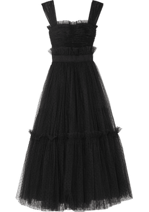 Dolce & Gabbana - Appliquéd Ruffled Tulle Gown - Black