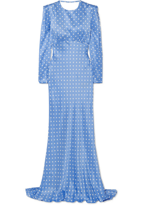 Alessandra Rich - Open-back Polka-dot Silk-satin Gown - Light blue