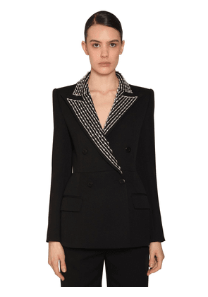 Check Double Breast Wool Crepe Blazer