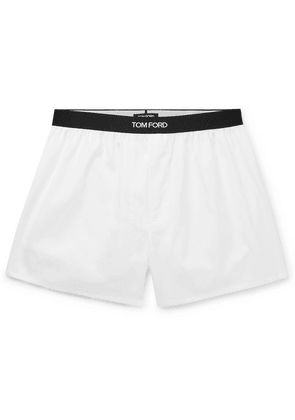 TOM FORD - Grosgrain-trimmed Cotton Boxer Shorts - White