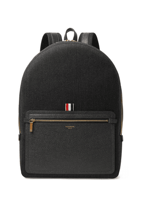 Thom Browne - Pebble-grain Leather-trimmed Mélange Twill Backpack - Gray