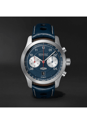 Bremont - Limited Edition Jaguar D-type Chronograph 43mm Stainless Steel And Leather Watch - Blue