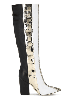 90mm Tall Snakeskin & Leather Boots