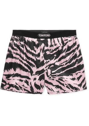 TOM FORD - Velvet-trimmed Zebra-print Stretch-silk Satin Boxer Shorts - Pink