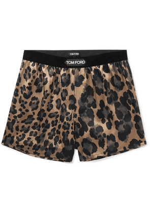 TOM FORD - Velvet-trimmed Leopard-print Stretch-silk Boxer Shorts - Brown
