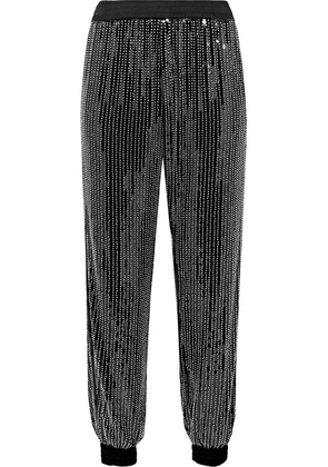 Haney - Cassie Embellished Stretch-tulle Track Pants - Black