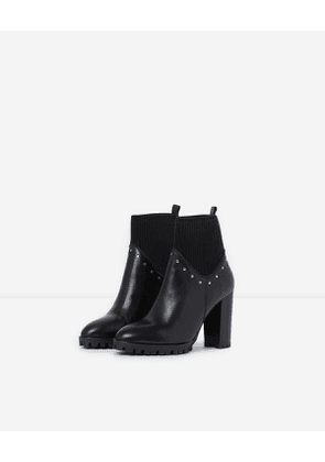 The Kooples - black heeled ankle boots with studs - bla
